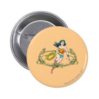 Vignes de vert de femme de merveille badge rond 5 cm