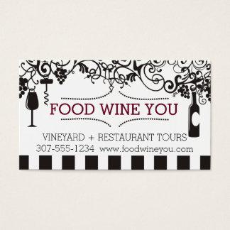 Vignoble ornemental de vin de nourriture de marque cartes de visite