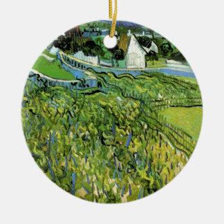 Vignobles de Van Gogh avec Auvers, beaux-arts Ornement Rond En Céramique