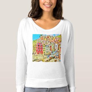 Village de pêche de la Riviera d'Italien, Flowy T-shirt