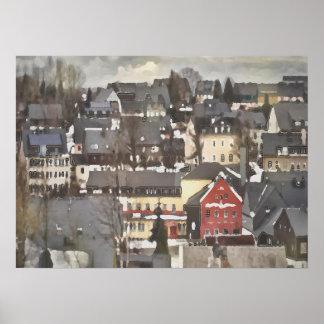 Village d'hiver avec de l'une huile rouge de poster