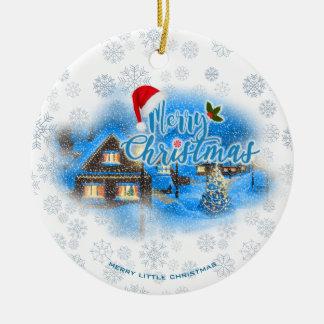 Village magique de Noël Ornement Rond En Céramique