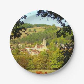 Village médiéval des plaques à papier de Plazac Assiettes En Papier