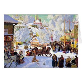 Village russe pendant l'hiver carte de vœux