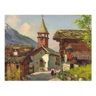 Village vintage   de la Suisse au Valais Carte Postale