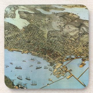 Ville antique de vue aérienne de carte de Seattle Dessous-de-verre