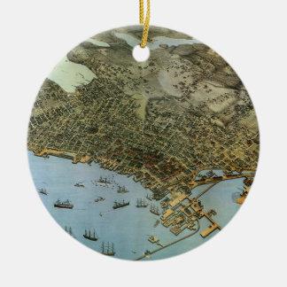 Ville antique de vue aérienne de carte de Seattle Ornement Rond En Céramique