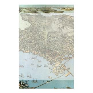 Ville antique de vue aérienne de carte de Seattle Papeterie