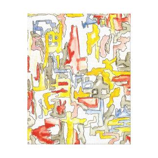 Ville brumeuse - art abstrait peint à la main toiles