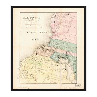 Ville carte de Fall River, le Massachusetts (1874) Toiles