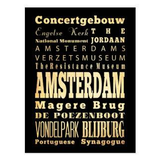 Ville d'Amsterdam d'art de typographie d'Olanda Carte Postale