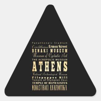Ville d'Athènes d'art de typographie de la Grèce Sticker Triangulaire