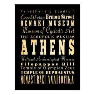 Ville d'Athènes d'art de typographie de la Grèce Carte Postale