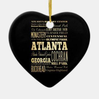 Ville d'Atlanta d'art de typographie d'état de la Ornement Cœur En Céramique