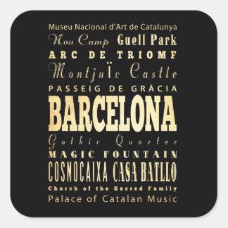 Ville de Barcelone d art de typographie de l Espag Adhésifs