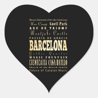 Ville de Barcelone d'art de typographie de Autocollant En Cœur