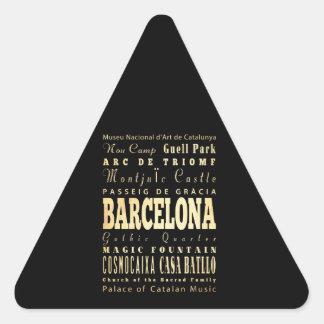 Ville de Barcelone d'art de typographie de Sticker Triangulaire