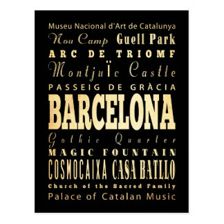 Ville de Barcelone d'art de typographie de l'Espag Cartes Postales