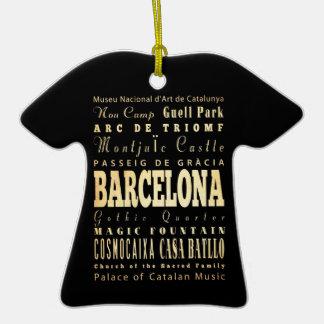 Ville de Barcelone d'art de typographie de Ornement T-shirt En Céramique