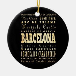 Ville de Barcelone d'art de typographie de Ornement Rond En Céramique