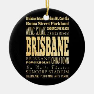 Ville de Brisbane d'art de typographie de Ornement Rond En Céramique