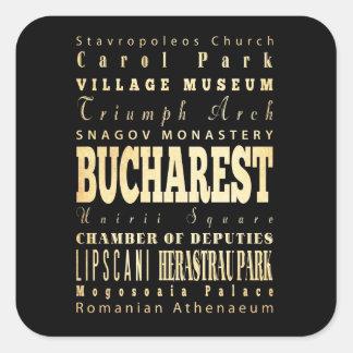Ville de Bucarest d art de typographie de la Rouma Stickers Carrés