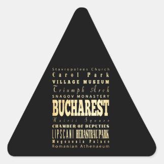 Ville de Bucarest d'art de typographie de la Sticker Triangulaire