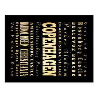 Ville de Copenhague d'art de typographie du Danema Carte Postale