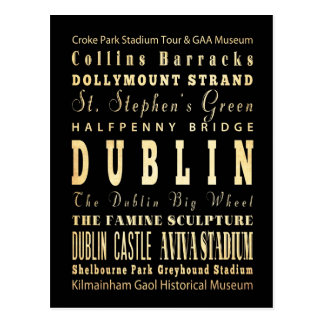 Ville de Dublin d'art de typographie de l'Irlande Carte Postale