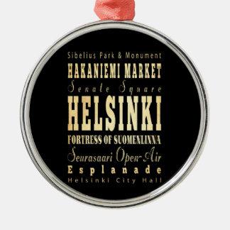 Ville de Helsinki d'art de typographie de la Ornement Rond Argenté