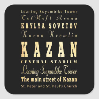 Ville de Kazan d'art de typographie de la Russie Sticker Carré
