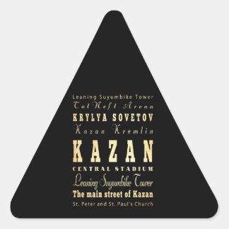 Ville de Kazan d'art de typographie de la Russie Autocollant En Triangle