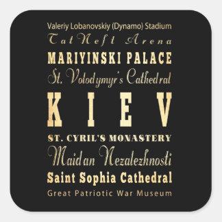 Ville de Kiev d'art de typographie de l'Ukraine Sticker Carré