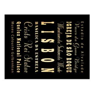 Ville de Lisbonne d art de typographie du Portugal Cartes Postales
