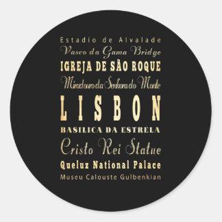 Ville de Lisbonne d'art de typographie du Portugal Sticker Rond