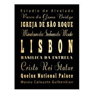 Ville de Lisbonne d'art de typographie du Portugal Carte Postale