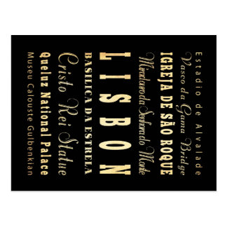 Ville de Lisbonne d'art de typographie du Portugal Cartes Postales