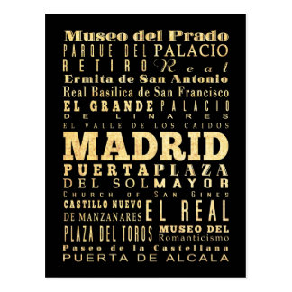 Ville de Madrid d'art de typographie de l'Espagne Carte Postale