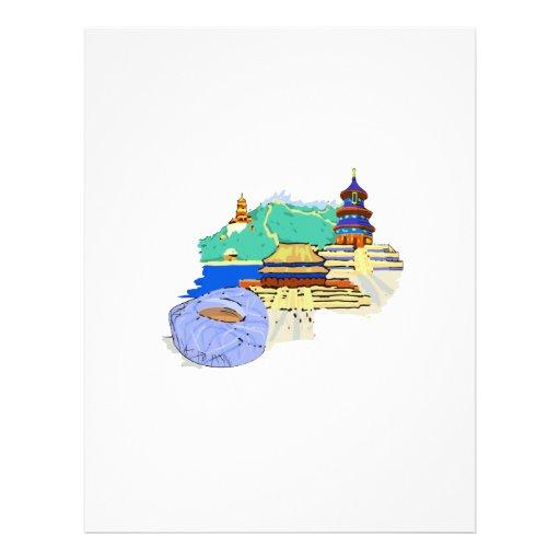 ville de Pékin aucun voyage pour aquarelle graphic Tract Customisé