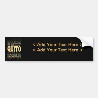 Ville de Quito d'art de typographie de l'Equateur Autocollant Pour Voiture