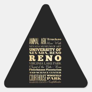 Ville de Reno d art de typographie d état du Nevad Autocollants En Triangle