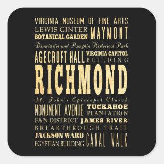 Ville de Richmond si art de typographie de la Stickers Carrés