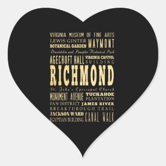 Ville de Richmond si art de typographie de la Sticker Cœur