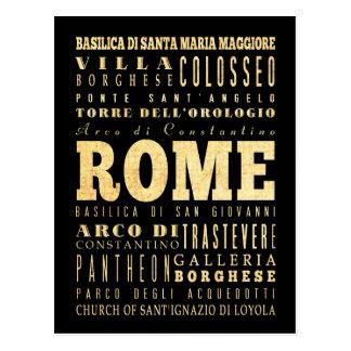Ville de Rome d'art de typographie de l'Italie Carte Postale