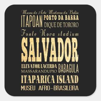 Ville de Salvador d'art de typographie du Brésil Sticker Carré