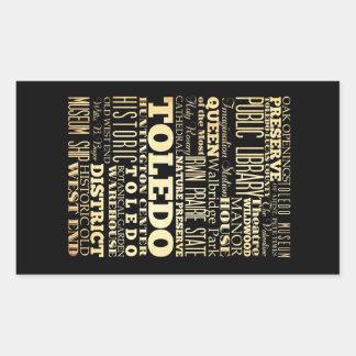 Ville de Toledo d'art de typographie d'état de Sticker Rectangulaire