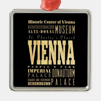 Ville de Vienne d'art de typographie de l'Autriche Ornement Carré Argenté