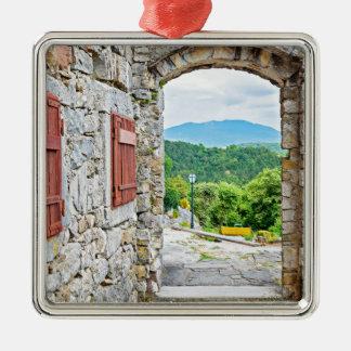 Ville de vue de porte et de rue de pierre de ornement carré argenté
