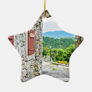Ville de vue de porte et de rue de pierre de ornement étoile en céramique