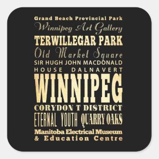 Ville de Winnipeg d'art de typographie du Canada Sticker Carré